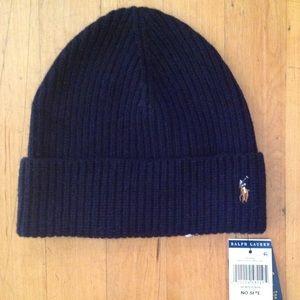 Polo Ralph Lauren Men's Cuff Wool Hunter Navy Hat